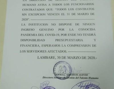 Comuna de Lambaré pone fin al vínculo con casi 400 contratados por no disponer de recursos