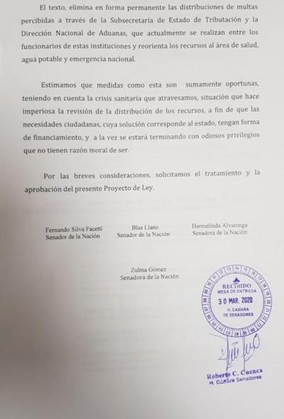 Llanistas plantean que multas que se reparten en la SET y Aduanas sean destinadas a Salud
