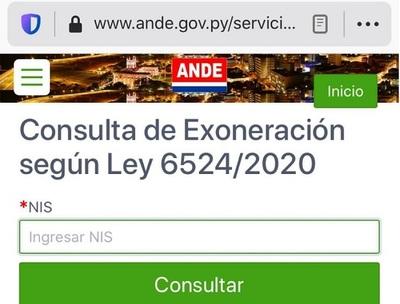 """Ande habilita en su página el botón """"Exoneración"""" por la Pandemia"""