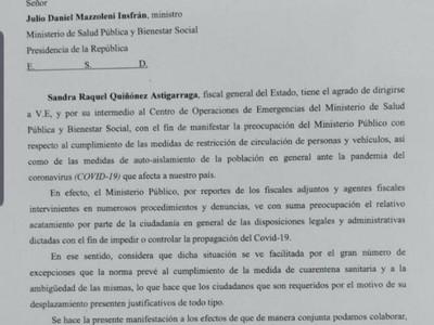 Fiscal General del Estado expresa su preocupación por el 'escaso acatamiento' de la cuarentena