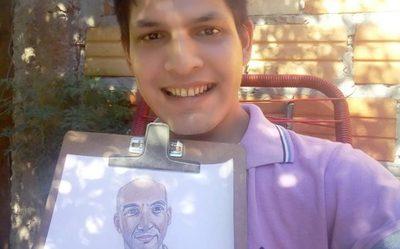 Joven dibuja a Mazzoleni en homenaje a su labor