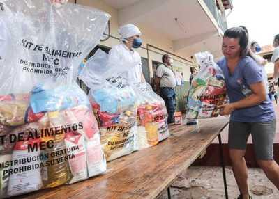 Entregan kits de alimentos a once mil estudiantes en Cordillera