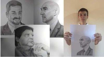 Joven de 15 años homenajea a nuestras autoridades con de arte