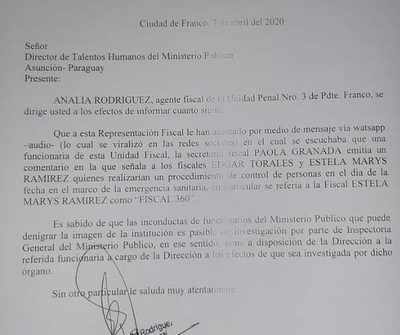 """Ponen a disposición de Talentos Humanos a secretaria fiscal que trató de """"Fiscal 360"""" a Estela Marys Ramírez"""