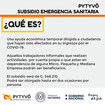 Pytyvõ subsidio a trabajadores afectados por el paro sanitario se iniciará este miércoles