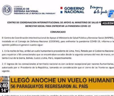 56 compatriotas llegaron de Perú y Bolivia en vuelo humanitario