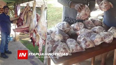 FAENO UNA VACA PARA ALIMENTAR A 70 FAMILIAS DE SAN PEDRO DEL PARANÁ.