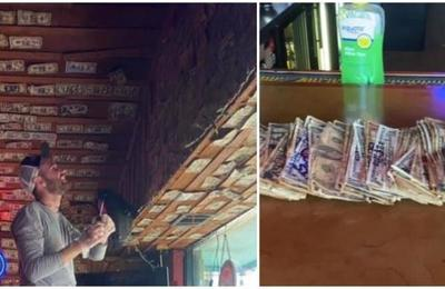 Un bar sacó los 'billetes de la suerte' dejados por sus clientes para pagarle a sus empleados