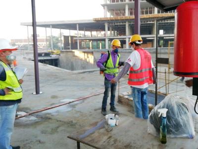 Intensifican aplicación y control de medidas sanitarias en obras de las Oficinas de Gobierno