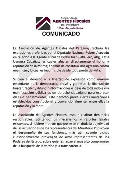 Fiscales repudian declaraciones denigrantes e injuriosas del diputado Acevedo