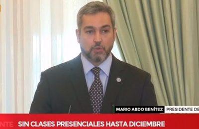 No habrá clases presenciales hasta diciembre, confirma Abdo Benítez
