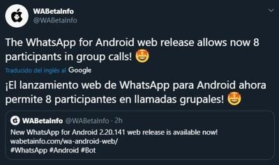 Whatsapp: Ya es oficial, se puede realizar videollamada grupal hasta 8 participantes