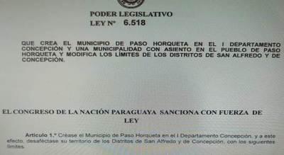 Paso Horqueta ya es distrito oficialmente