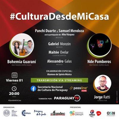 Cultura desde mi Casa este viernes por Paraguay TV