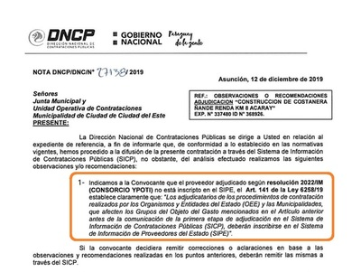 """""""HISTORICO"""" negociado del intendente Prieto es IMPUGNADO por Contrataciones Pública"""