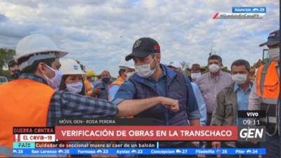 HOY / El presidente de la República Mario Abdo realiza la verificación de obras en la Transchaco