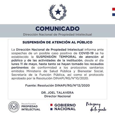 Funcionario de DINAPI declaró síntomas de Covid-19 e institución suspendió atención al público, enviando a todos a cuarentena