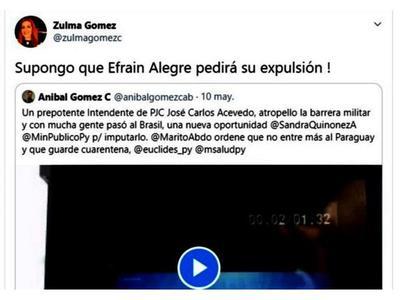 Efraín Alegre no habla de Acevedo y Gómez lo cuestiona en las redes