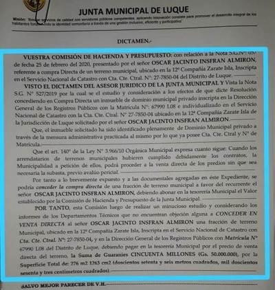 """En plena pandemia, concejales """"regalan"""" un terreno de G. 200 millones por G. 50 millones • Luque Noticias"""