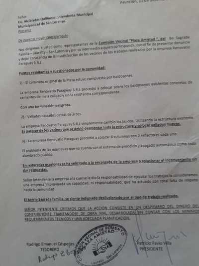 Plaza Amistad: Vecinos presentaron denuncia, pero intendente se llamó a silencio