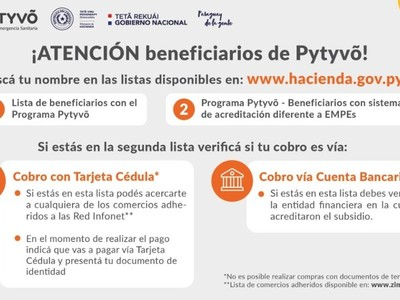 Más personas serán incluidas en segundo desembolso del Programa Pytyvô