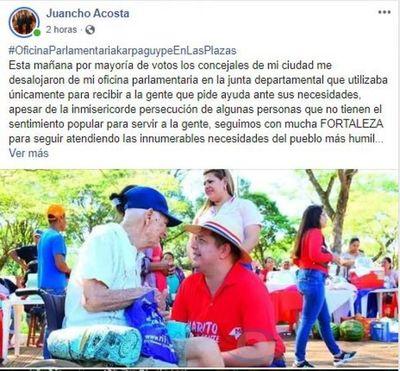 Concejales desalojaron la oficina parlamentaria del diputado Juancho Acosta
