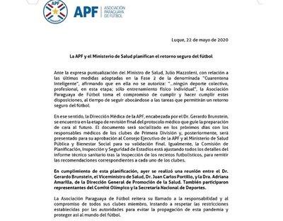 "APF pidió que clubes sean ""responsables"""