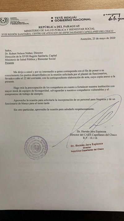 Funcionarios del policlínico Capellanes del Chaco son obligados a trabajar sin insumos