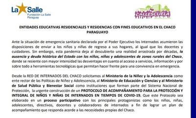 Red de internados del Chaco piden al MEC participar de protocolo para vuelta a clases