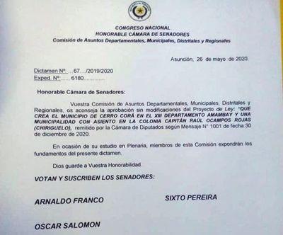 Senadores dictaminan  a favor de la creación del municipio de Cerro Corá