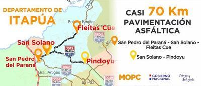 Inauguran 70 km. de asfaltado en Itapúa que aseguran el acceso a hospitales