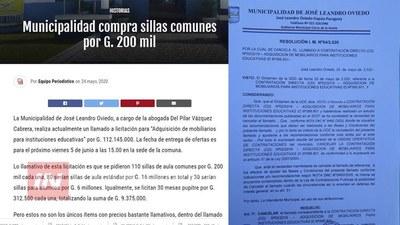 INTENDENTE DESMIENTE COMPRA DE SILLAS EN JOSÉ LEANDRO OVIEDO.
