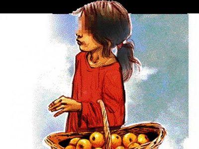 La calle estaba tan fría y ella tuvo que salir a vender  sus mandarinas