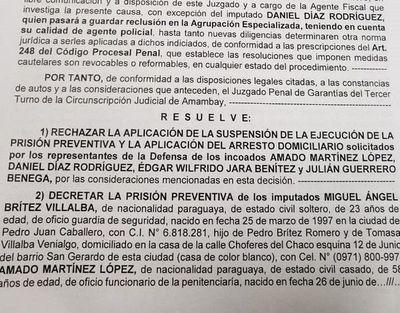 Ordenan prisión de implicados en fuga