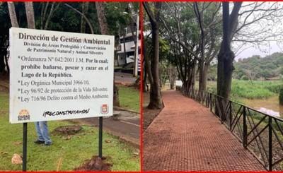 Comuna instala carteles para preservar vida silvestre en el lago