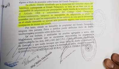 Indert deja explotar a brasileños unas 3.000 hectáreas de su tierra