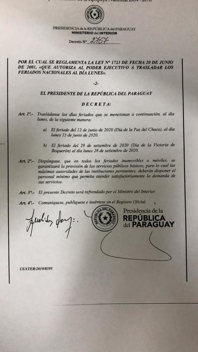 Ejecutivo decretó el traslado del feriado de la Paz del Chaco