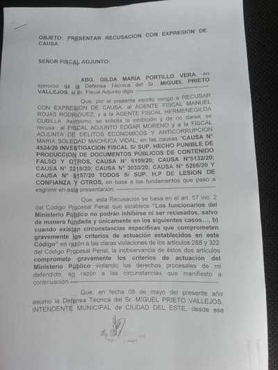 Defensa de Miguel Prieto recusa a fiscales
