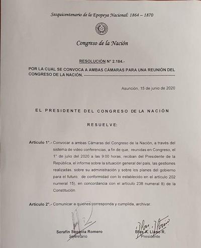 Llano convoca a las cámaras para recibir informe de gestión de Abdo Benítez