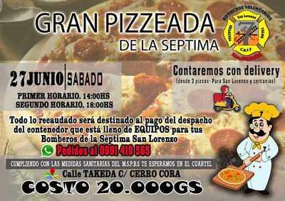 Bomberos recurren a pizzeada