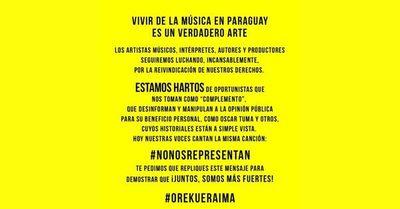 Artistas nacionales se unen en repudio a Oscar Tuma