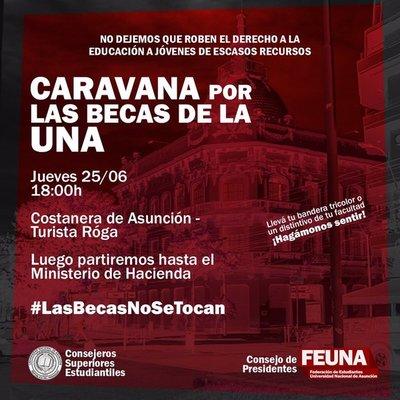 """Estudiantes de la UNA harán caravana """"Las becas no se tocan"""""""