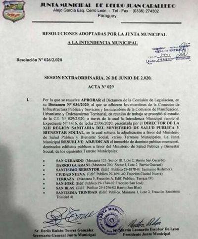 Adjudican terrenos al Ministerio de la Salud para la creación de 7 Unidades de Salud Familiar en Pedro Juan Caballero