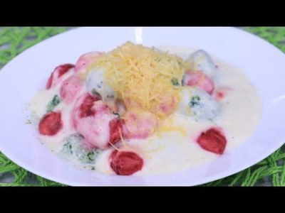 Ñoquis de colores con salsa 4 quesos