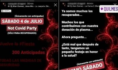 """""""Not Covid Party"""": organizan una fiesta clandestina para personas recuperadas de coronavirus en Argentina"""