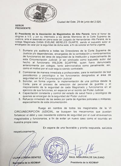 Crimen de jueza: Presidente de ASOMAP solicitó auditoría