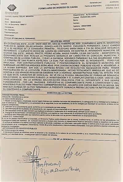 Denuncian al intendente Prieto por NEGOCIADO de G. 10.000 millones