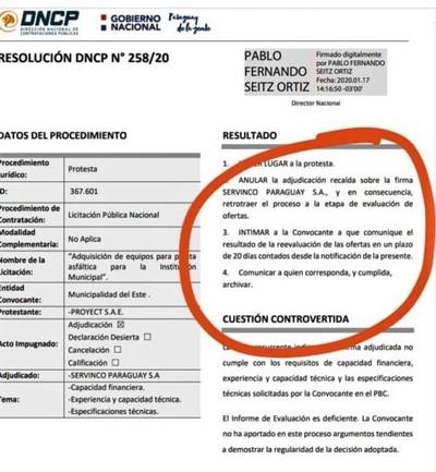 Contrataciones ANULA NEGOCIADO de Miguel Prieto por cerca de G. 11.000 millones