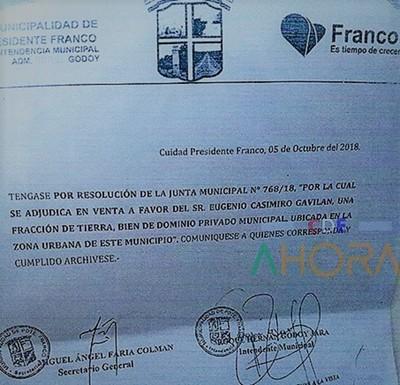 NEGOCIADO de US$ 1 millón con un terreno municipal en FRANCO