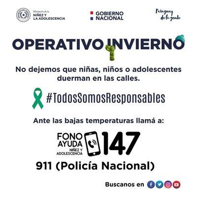 Operativo invierno del Ministerio de la Niñez brinda refugios en Luque, San Lorenzo y CDE
